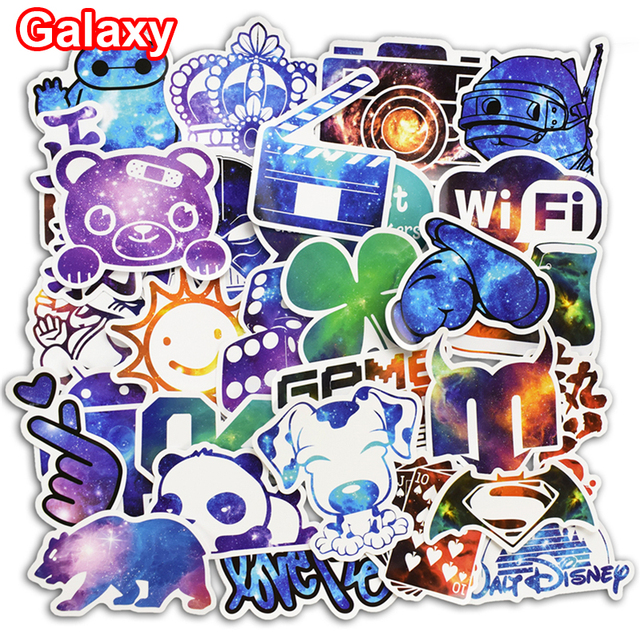 New 50 Pcs Galaxy Stickers Graffiti Sticker for Laptop Luggage Wall Guitar Car Styling Home Decor Decal PVC Waterproof Stickers
