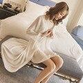 Nuevo Sexy Lingerie Robe Princesa Linda ropa de Dormir de Encaje Pijamas Atractivos de Las Mujeres largo Vestido de Gasa Con Un Sujetador Camisón Bata 2 Unidades Set