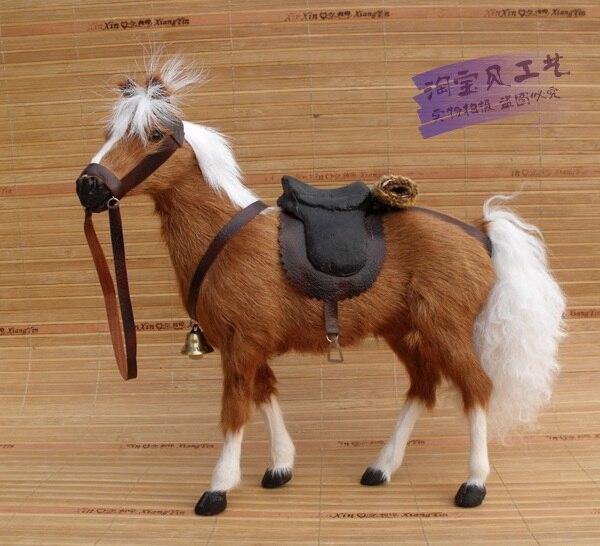 Nouvelle simulation cheval brun jouet polyéthylène & fourrures sang cheval avec selle cadeau environ 28x10x26 cm 1983