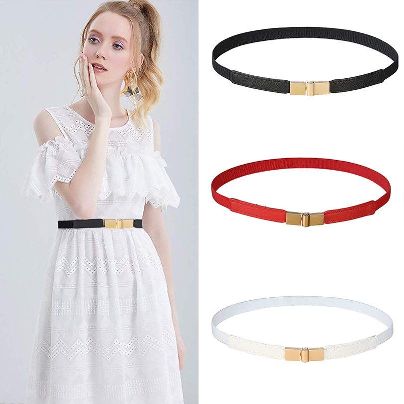 AWAYTR Black Red White Skinny Thin PU Canvas Belt For Women Leather Waistband Female Gold Buckle Women Elastic Belts 60*1.5cm