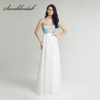 Cheap in Warehouse Sweetheart Top Lace Appliques Prom Dresses Long Chiffon Sequined Zipper Back Formal Evening Party Gown OL254