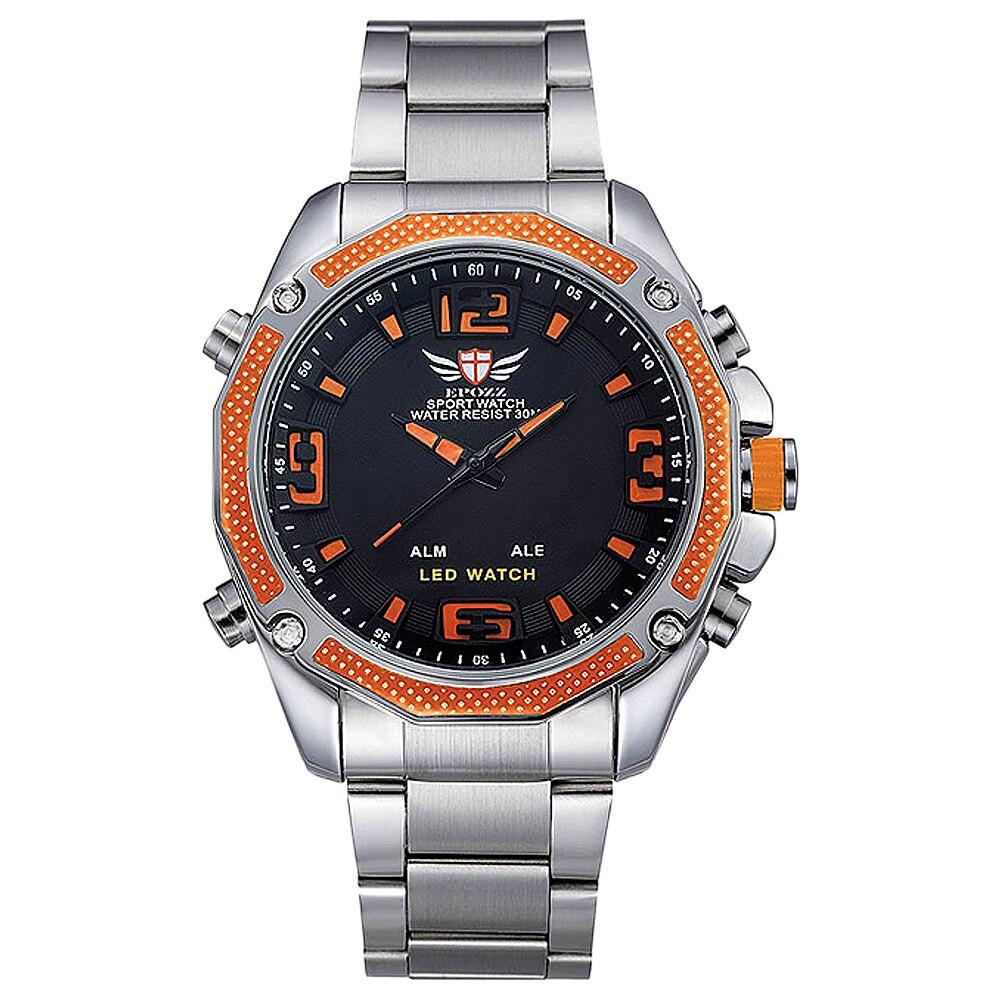 Epozz Top Luxury Men Sport Quartz Watch LED Display Full Stainless Steel Black Dial Army Watches Orange Relogio Masculino EP2306