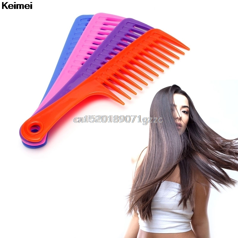 Wide Tooth Handle Hairdressing Salon Anti-static Plastic Hair Comb Detangling #H027#