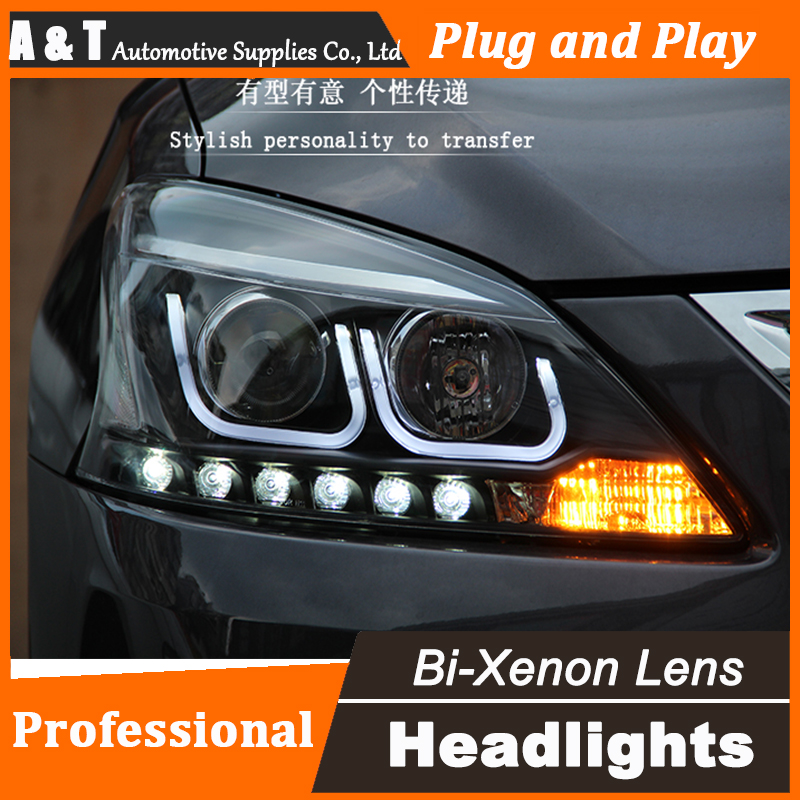 Auto Lighting Style LED Head Lamp for Nissan Sylphy led headlight assembly 2012-2015 drl H7 with hid kit 2 pcs.