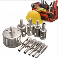 10pcs Diamond Coated Hole Saw Drill Bit Set Cutter 3-50mm For Tile Ceramic Marble Glass