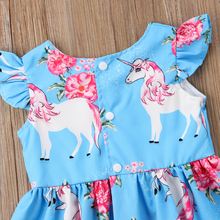 Summer Toddler Girl Unicorn Princess Sundress