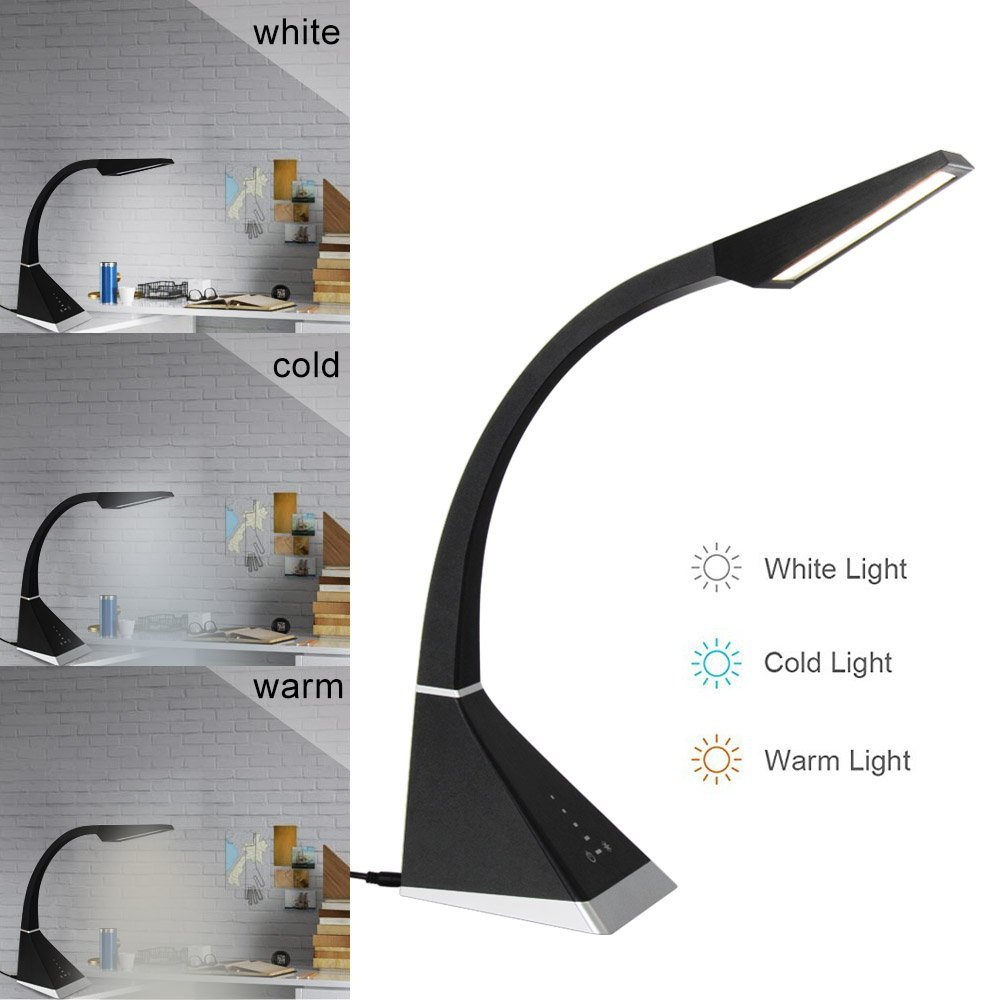 T SUN LED Desk Lamp Eye Caring Dimmable Flexible Lamp With USB Charging Port 3 Color