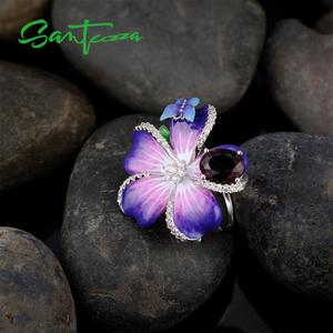 Image 5 - SANTUZZA Silver Ring For Women 925 Sterling Silver Purple Flower Butterfly Delicate Ring Party Chic Jewelry Handmade Enamel