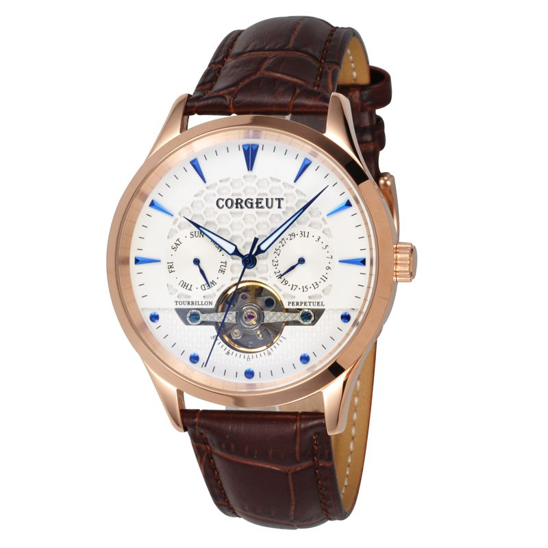 Corgeut 44mm Domed Glass White Dial gold case Blue Hands&Marks leather strap Date&Day Men water resistant Automatic watch corgeut 44mm wristwatches rose gold case white dial coffee leather strap hand winding 6498 water resistant men watches cm2005b