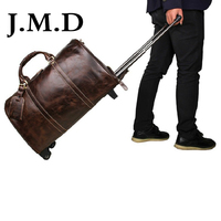 J.M.D 2019 New Arrival 100% Men's Fashion High Grade Leather Trolley Case Trolley Bags Leather Luggage Bag 4 Color 7077C