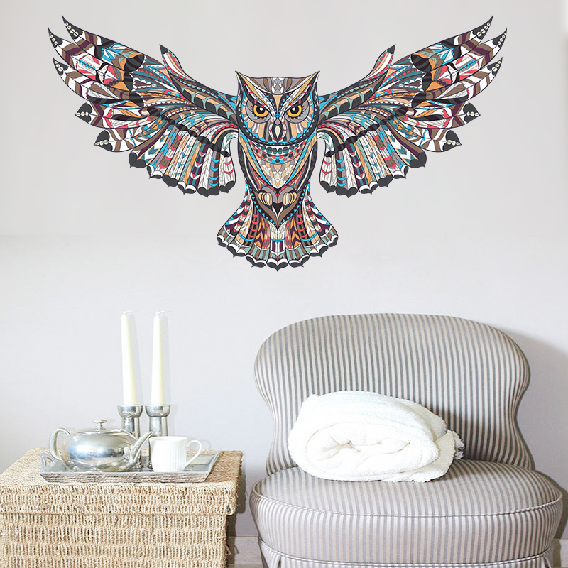 Flying Owl Wall Stickers Home Decoration Accessories For Living Room Wall Decals Kids Bedroom PVC Mural Art Animals Decor Poster in Wall Stickers from Home Garden