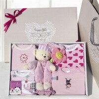 Quality 100% cotton baby clothes gift box newborn supplies toy newborn baby romper bodysuit