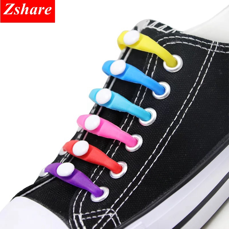12pcs New Shoelaces Lazy Elastic Silicone Shoelaces No Tie Running Sneakers