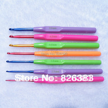 FREE SHIPPING 7 PCS candy hook  yarn knitted tools multicolour stintingly alumina needle
