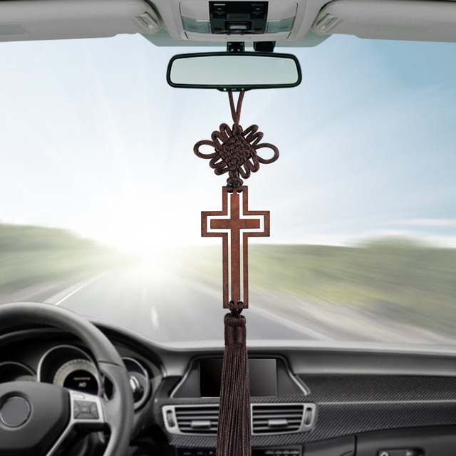 Hollow Cross Tassel Car Rearview Mirror Hanging Ornaments Auto