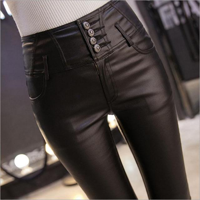 New 2016 Winter Thickening Black Broots Leather Leggings Skinny Pants Warm Women's Trousers for Women High Quality