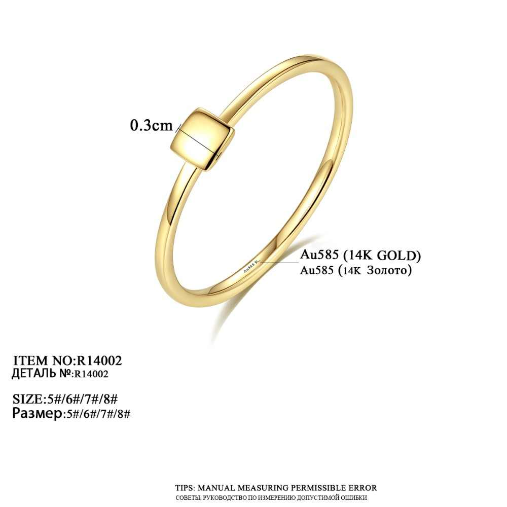 924cc3587 ... PAG&MAG New Luxury Real 14K Yellow Gold Rings for Women Minimalist  Au585 Square Design Anniversary Finger ...