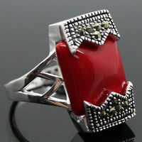 Wholesale Good 12 20mm FANCY RARE VINTAGE RED CORAL BELT 925 SILVER MARCASITE RING SIZE 7