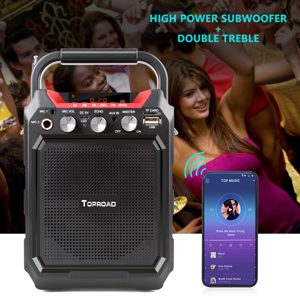 TOPROAD Portable Wireless Bluetooth Speaker With 3D Sound System Microphone And Remote Control 9