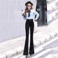 2018 Spring and Sutumn new Korean trousers Slim Split Micro Bell pants Black High waist Slim Wide Leg Casual pants Size S XXL