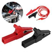 Полная изоляция 55 мм крокодил клип тест автомобиля батарея кабель провода зажим черный красный опционально