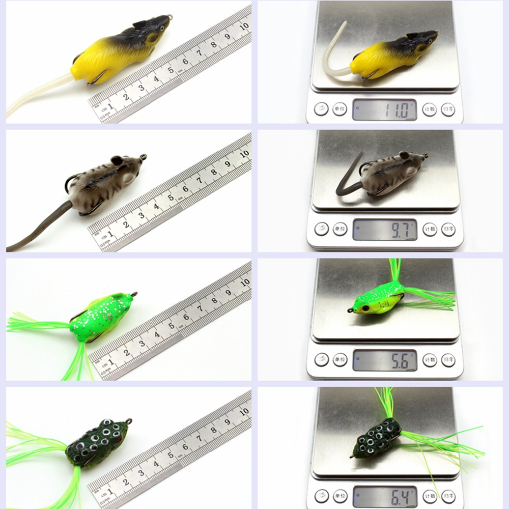 2017 NUEVO 10pcs 10 colores Topwater Frog and Mouse Hollow Body Soft - Pescando - foto 2