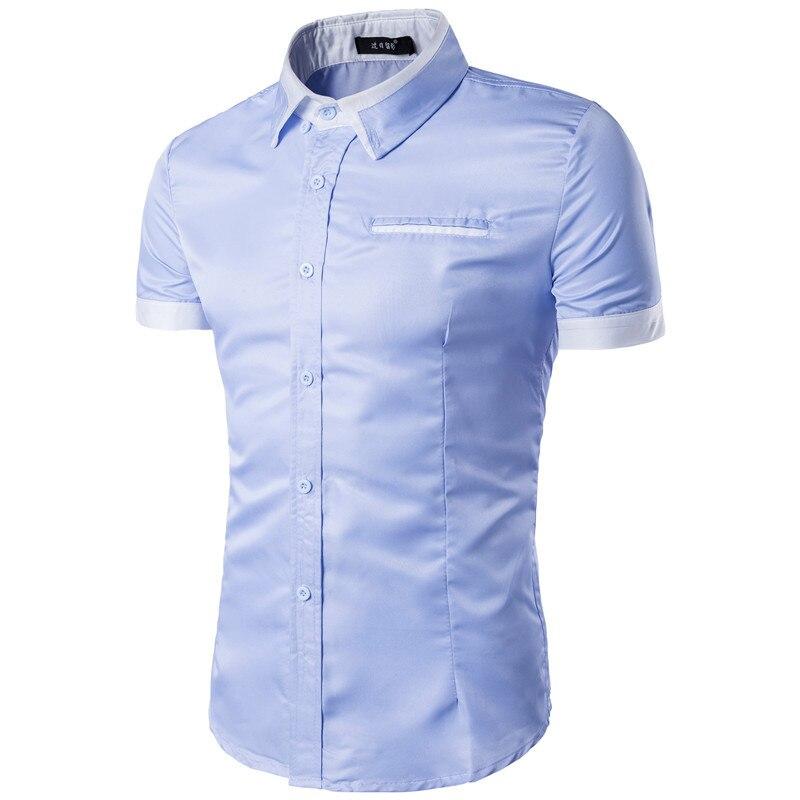 Short Sleeve Men Shirt Men's Casual Shirt Slim Fit Man Cotton Shirts ... bb009f371ccd