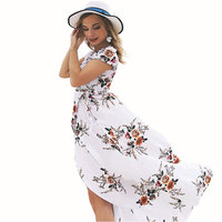 Women Summer Maxi Dress Chiffon Print Boho Long Dress Sexy Bifurcation Print White Black Beach Dresses Floral Elegant Clothing Women's Dresses