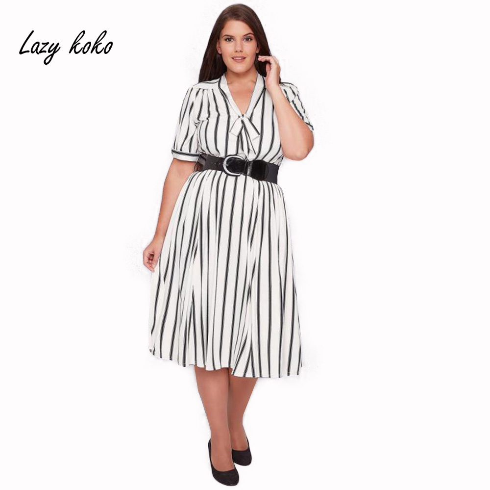 Lazy KoKo 2017 New OL Style Plus Size Women Clothing White Striped With Sashes Bowknot Front ...