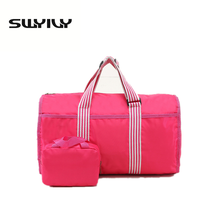 Swyivy Stripe Folded Light Weight Women Gym Bag Portable Traveling Handbag Fitness Yoga Sports Shoulder