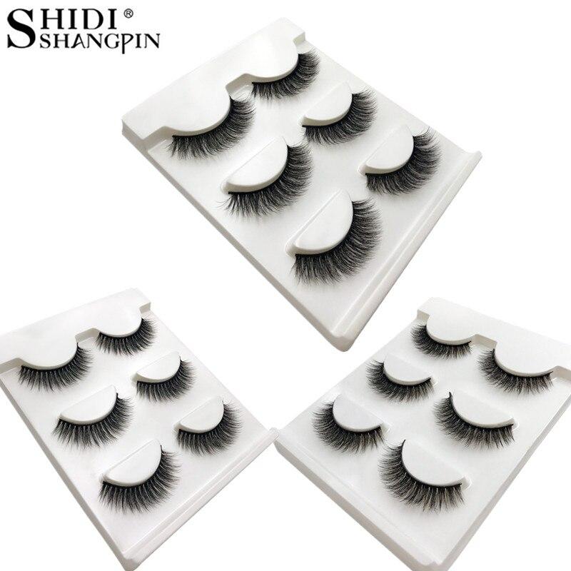 SHIDISHANGPIN 3d Mink Lashes Natural Long Cilios Hand Made Mink Eyelashes 3 Pairs Fake Eyelashes Full Strip Lashes Faux Cils X