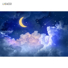 Laeacco Gold Moon Star Cloud Wallpaper Party Decor Night Scenic Photo Backdrops Photography Backgrounds Photocall Studio