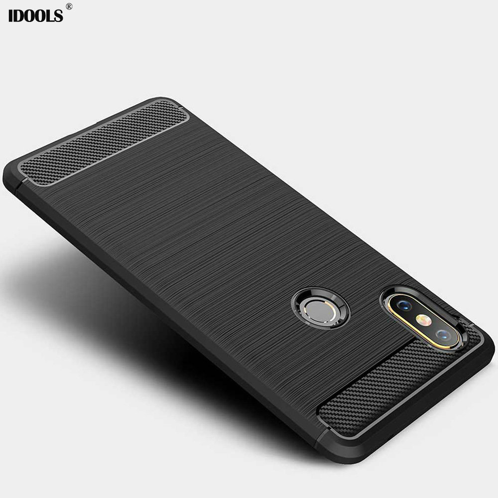 IDOOLS Case For Xiaomi mi Mix 2S Carbon Fiber Brushed Wire Drawing Silicone Back Cover Phone Bags Cases for Xiaomi mi Mix 2S 2 S