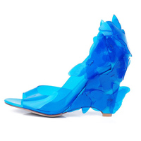 Brand Big Size 42 43 Beach Shoes Fashion Transparent PVC Butterfly Flowers Open Toe Wedges Heels