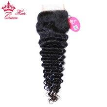 Queen Hair Products Brazilian Virgin Hair Deep Wave Swiss Lace Closure 10″-20″ Natural Color 100% Human Hair Free Part