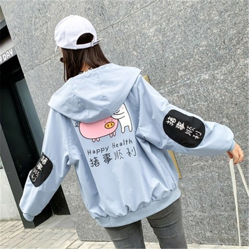 Causual bf   Basic     Jacket   Female Spring Autumn Korean Loose 2019 new Harajuku College wind Women's Coat Print Letter Outwear x563