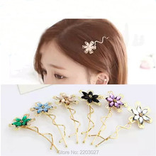 Korean Colorful Crystal Flower Hairpin Twist Hair Clip Hairpin Barrette Hair Accessories for Women Girls