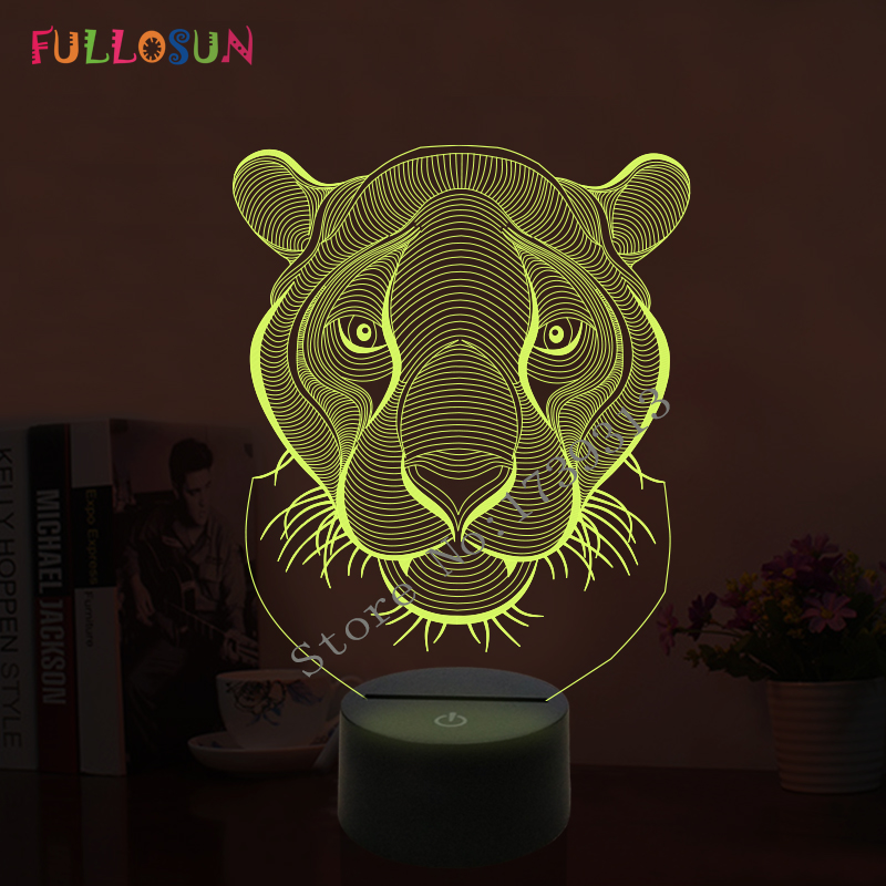 Amazing 3D LED Lamp Tiger Shape Night Lights with 7 Colors Light for Home Decoration