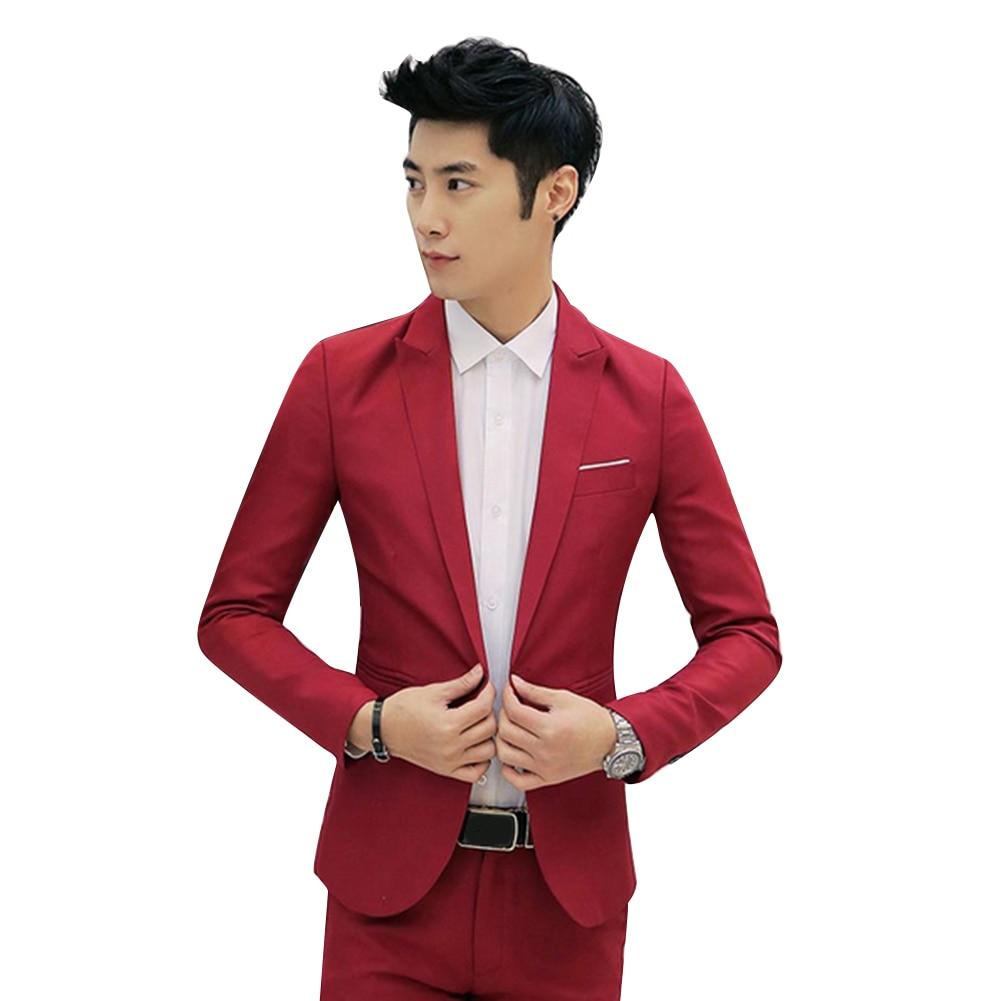 2019 New Men Slim Fit One Button Casual Suit Coat Solid Color Cotton Blazer Suit Jacket Wedding Business Jacket Size M To 3XL