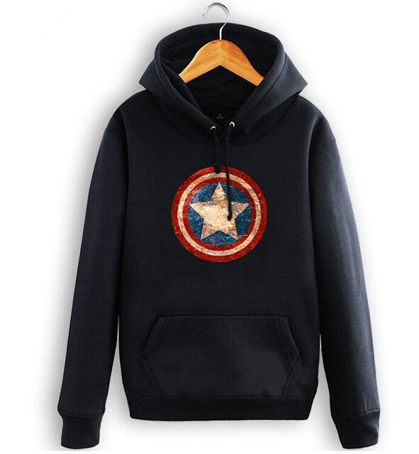 7a455e29d662 Blau Super Hero Schild Langarm Frühling Herbst Mode Männer Hoodies  Sweatshirts Mantel Cosplay Kostüm