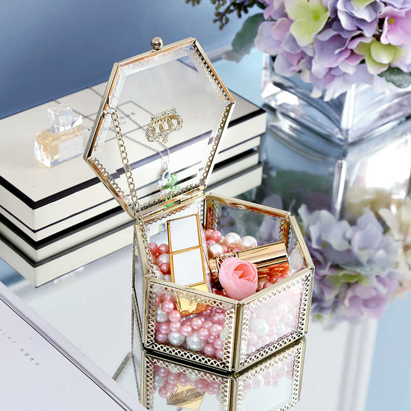 INS Golden Crown Glass Hexagon Jewelry Box Storage Perfume cosmetics Decorative Box girl's gift home decoration accessories