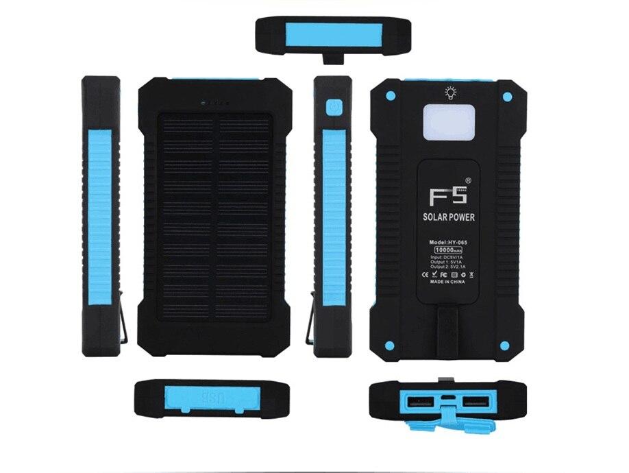 2017 A Prueba de agua Solar Banco de la Energía 10000 mAh Dual USB Cargador de B