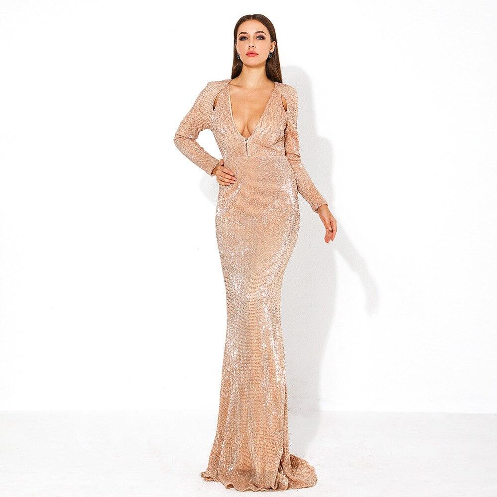 7357af183328 V Abiti Corpo 2019 Oro Partito Paillettes Donne Celebrità Abito Scollo Sexy  Modo All ingrosso Vintage ...