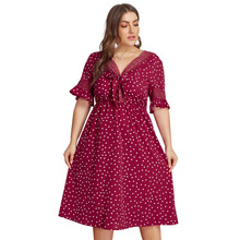 Summer Big Size Dresses for Women Super Casual Preppy Polka Dot Bow Long Dress Ladies Oversized Plump Elegant Lady Hot