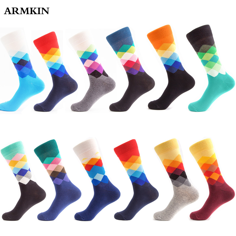 ARMKIN Casual Harajuku Men   Socks   Combed Cotton Happy Funny   Socks   Vintage diamond pattern Rainbow   Socks   For Christmas Gifts