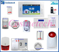 Personalized FSK 868MHZ touch screen home office shop GSM alarm system with IR camera,smoke sensor,strobe siren