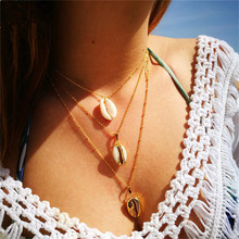 Three Layers of Shell Pendant Necklace Natural Gold Cowrie Women Best Friend Cowry Seashell Bohemian Jewelry