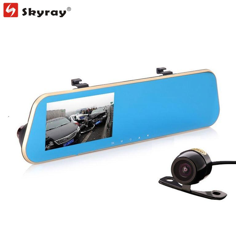 4.3 Inch Full HD 1080P Dual Lens Rearviem Mirror Car DVR Dash Camera 170 Degree Driving Recorder with Parking Vedio Night Vision jansite newest 5 0 inch car camera with adas review mirror camera car dvr detector video recorder dual lens fhd 1080p dash cam