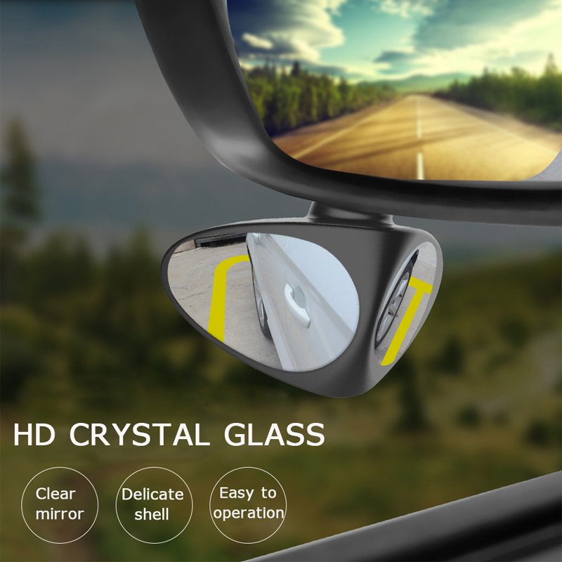 2 Round HD Glass Convex Rear View Mirror 360/° Rotate Wide Angle Rear View Mirror Adjustable Automotive Stick-on Side Mirrors for Universal Cars BetterJonny 2 Pieces Blind Spot Mirrors