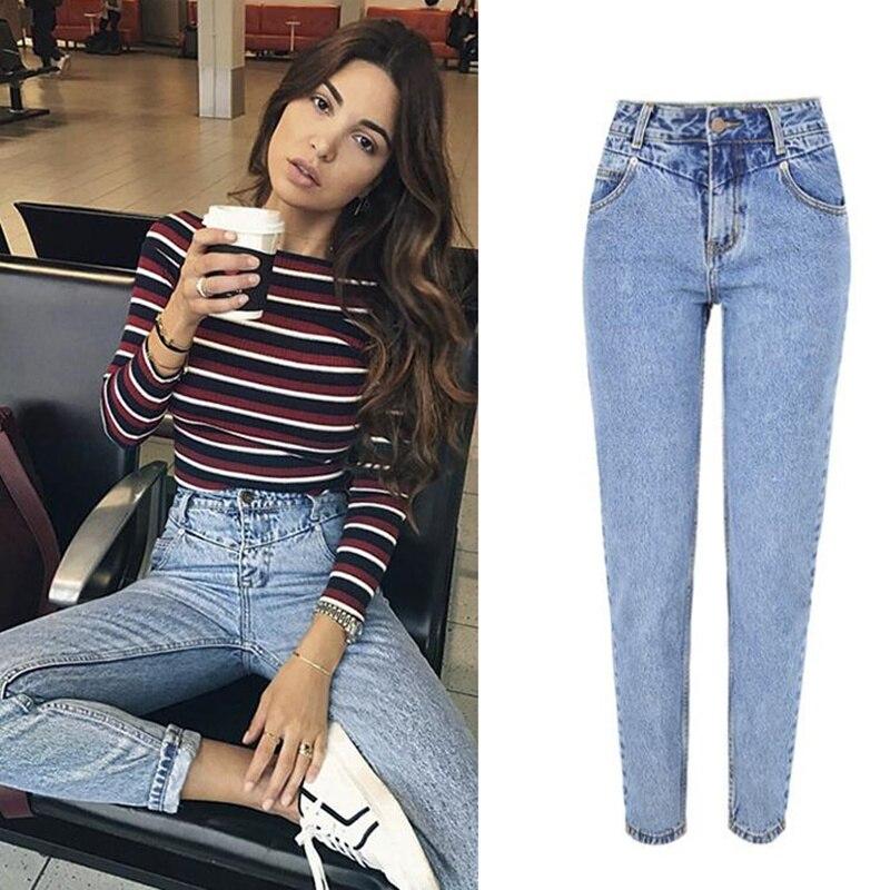 LOGAMI New Fashion High Waist Boyfriend Jeans Woman Casual Straight Jean For Women Denim Trousers Light Blue